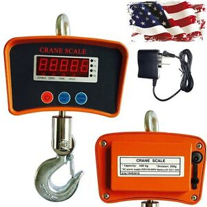 1100lbs 500kg Digital Crane Scale Heavy Duty Industrial Hanging Scale Warehouse