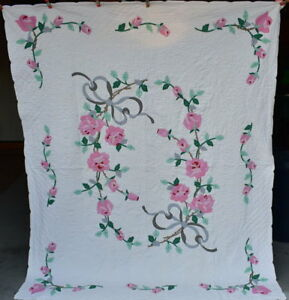 Antique Gray Bow Floral Applique Quilt Pink Roses On White Background 18177