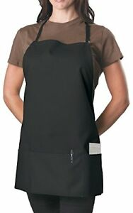 6 Pack Black Adjustable Bib Apron 3 Pocket Aprons Uniforms Restaurant Catering