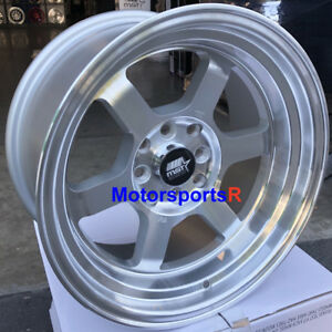 Mst Wheels Time Attack Rims 15x8 0 Silver 4x100 Stance Fit 89 Nissan 240sx S13