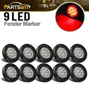 10x 2 Round Led Marker Lights 9led W Reflector Clear red Kits Grommet pigtail