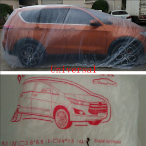 Large Plastic Disposable Suv Auto Car Body Cover Rain Dust Snow Garage Universal