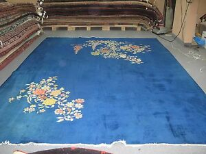 Vintage 1940 S Blue Blossoms Art Deco Chinese Rug Hand Knotted Wool 8 9 X11 6