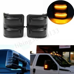 2pcs Smoked Amber Led Side Mirror Marker Lights For 2008 16 Ford F250 F350 F450