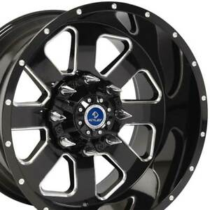 20x12 Slayer 4play Black Machined Face 8 Lug Set Of 4 Rims Fit Chevy Gmc