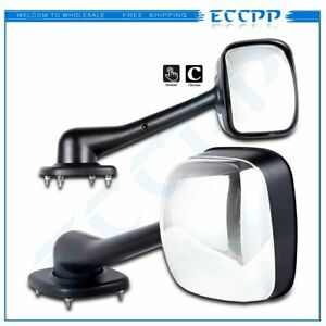 For Freightliner Cascadia 2008 2016 Lh Rh Side Hood Chrome Mirrors Manual Pair