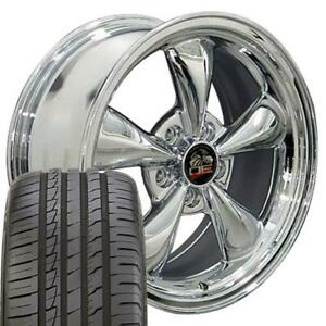 18x9 Wheels Tires Fit Ford Mustang Bullitt Style Chrome Rims W Ironman