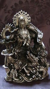 Antique 19c China Silvered Bronze Statue Of Quan Yin With Dragons