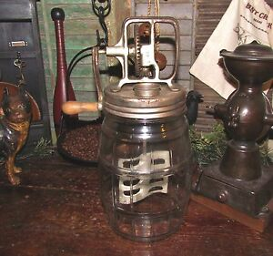 Original Primitive Antique Vtg Retro Metal Paddle Butter Churn Glass Pickle Jar