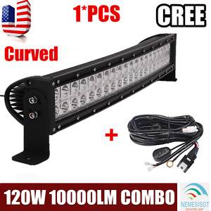 22 inch 120w S f Combo Led Light Bar Offroad Driving Lamp Atv Boat 24 wiring Kit