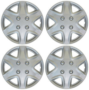 New 4 Pc Set Hub Cap Abs Silver 14 Inch Rim Wheel Hubcaps Cover Covers Caps