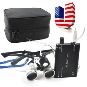 Dental Surgical Medical Binocular Loupes 2 5x 420mm head Light cloth Case Box