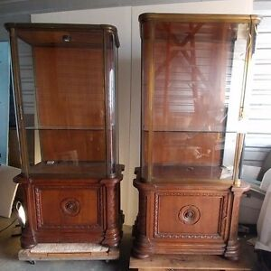 Pair Of Antique French Glass Display Cabinet 1905 Paris Jewelry Store