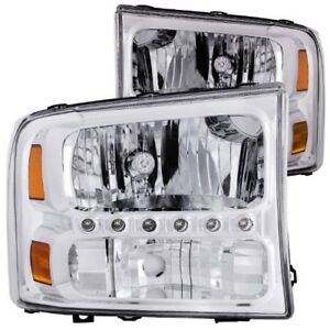 Anzo 111088 2000 2004 Ford Excursion Crystal Headlights Chrome W Led 1pc