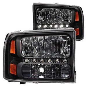 Anzo 111106 2000 2004 Ford Excursion Crystal Headlights Black W Led 1pc
