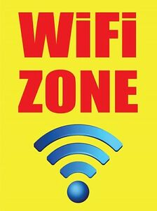 Wifi Zone 18 x24 Store Business Retail Promotion Signs