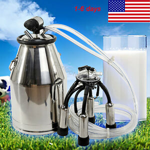25l 304 Stainless Steel Cow Milker Bucket Tank Milking Machine Without Pump