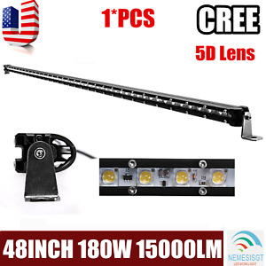 5d 48 Inch 180w Slim Single Row Led Light Bar Boat Truck Drl Suv Offroad 50 52