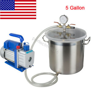 5 Gallon Stainless Steel Vacuum Degassing Chamber W 3 Cfm Pump Hose 1720 Rpm