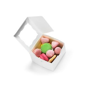 50pack Bakery Boxes With Window 4x4x2 5 Cute Pastry Containers For Cupcake
