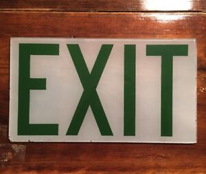 Vintage Industrial Exit Sign Replacement Glass Green And White