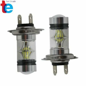 2x H7 100w High Power Led 6000k White Fog Light Daytime Running Lamps Bulbs