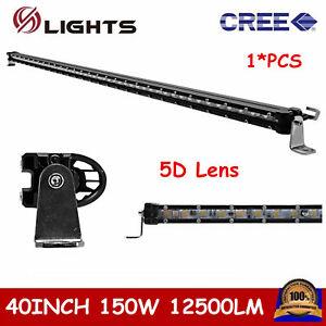 40 150w Cree Slim Single Row Led Light Bar Off Road Driving Ute Truck 5d Lens