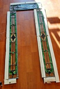 Antique Leaded Glass Windows Beveled Chipped Ice Design We Can Ship 3 Piece Set