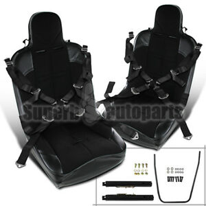 2x Black Pvc Leather Jdm Off Road Buckle Style Racing Seat Seat Belt
