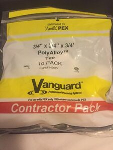 Apollo Pex 3 4 X 3 4 X 3 4 Poly Alloy Tee 10 Pack Lot Of 6 Bags