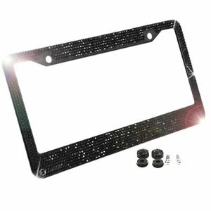 Black Metal Diamond Bling Glitter License Plate Frame Cover Crystal Rhinestone