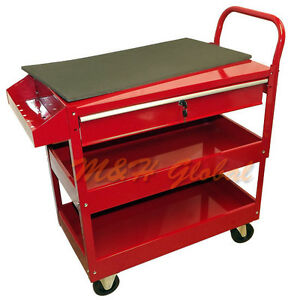 Metal Steel Roller Tool Cart Rolling Part Storage Bin 1 Drawer 36 red