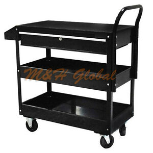 Metal Steel Roller Tool Cart Rolling Part Storage Bin 1 Drawer 36 black
