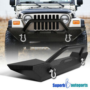 1987 2006 Jeep Wrangler Yj Tj Black Texture Bumper Guard W Winch Plate D Rings