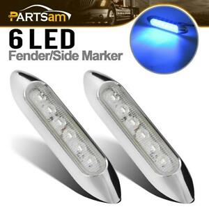 2 Pcs Boat Marine Led Utility Strip Lights Marker 6 Blue Led Sealed Chrome Bezel
