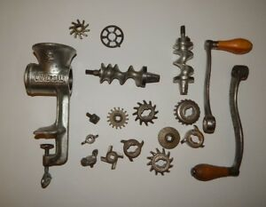 Vtg Universal Metal Food Chopper Meat Grinder 2 W Blades Metal