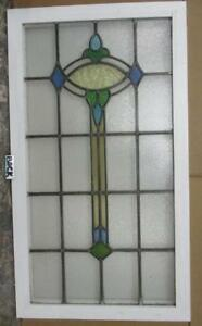 Large Old English Leaded Stained Glass Window Wonderful Abstract 22 X 39