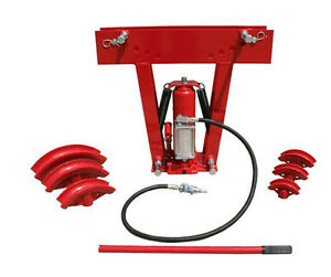 Hd 12 Ton Air Manual Hydraulic Tube Bender Exhaust Tubing Pipe Bending 6 Dies