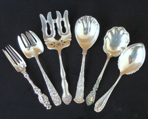 Collection Of Six 6 Antique American Sterling Silver Serving Flatware Pcs 15 Ozt