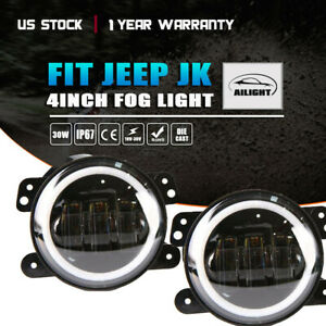 2pc 4 60w Cree Led Fog Light Round Driving Offroad Lights Jeep Wrangler Jk