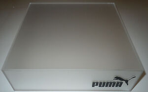 Puma Retail Shoe Display Platform Box Plastic Clear Frosted Store Fixture 10x10