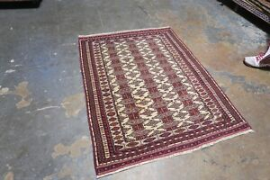 Semi Antique Tekke Bokhara Turkoman Hand Knotted Wool On Wool Rug 3 9 X 4 9
