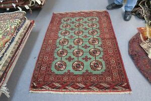 Semi Antique Tekke Turkoman Bokhara Green Red Hand Knotted Wool Rug 3 6 X 5