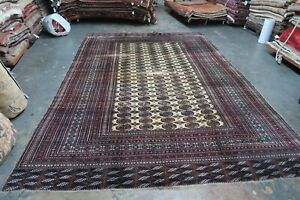 Antique Turkoman Tekke Bokhara Rug Wool On Wool Ethnic 8 6 X 11 10 Hand Knotted