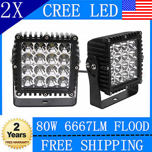 2x 5 Inch 80w Square Led Work Light Flood Cree Offroad Jeep Boat 4x4wd Suv Lamp