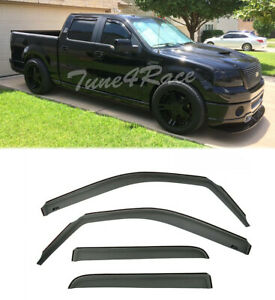 For 09 14 Ford F150 Crew Cab Window Visors In channel Side Rain Guard Deflectors