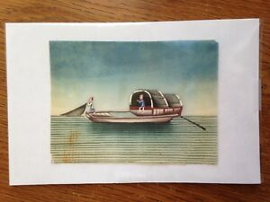 Antiq Chinese Pith Paper Painting 19th C Boat Ship Sail Postcard Size Painting 3