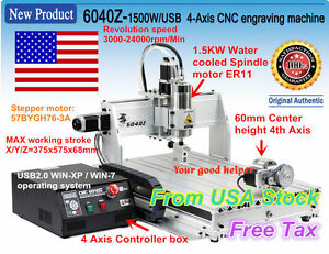 us Stock 1500w 4axis Usb Mach3 6040 Cnc Router Engraving Milling Machine 110v