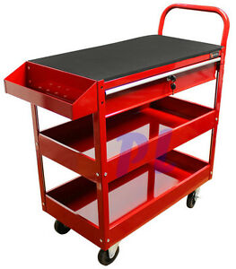 36 Metal Steel Roller Tool Box Cart 1 Drawer Tool Rolling Part Bin Storage red