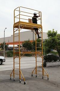 Scaffold Rolling Tower With Hatch Decks Guard Rail 12 High Deck Cbmscaffold